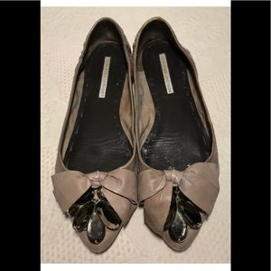 Vera Wang Lavender Label taupe flats jeweled toes